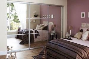Mirror sliding wardrobe doors for the bedroom
