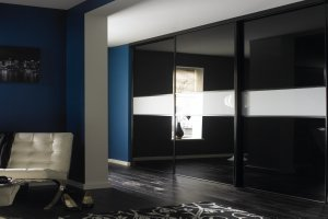 S100 sliding bedroom doors - Central 300 design - Black and grey metal glass