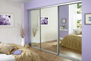 Full panel mirror sliding wardrobe doors
